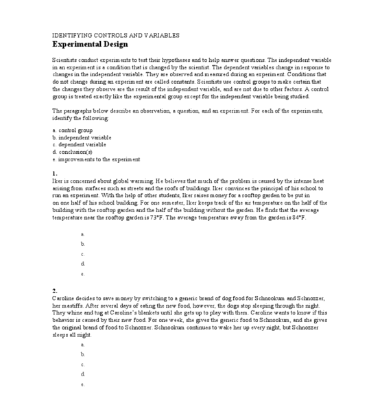 Identify Independent And Dependent Variables Worksheet The Best