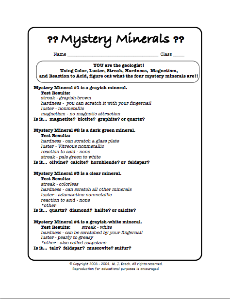 Identify Minerals Worksheet The Best Worksheets Image Collection
