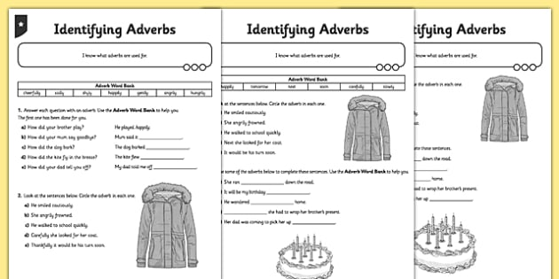 Identifying Adverbs Differentiated Worksheet   Activity Sheet