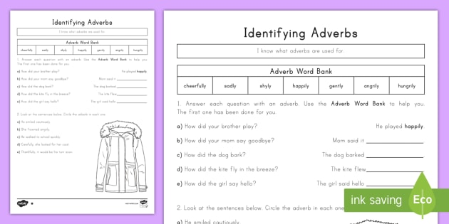 Identifying An Adverb Differentiated Worksheet   Activity Sheets
