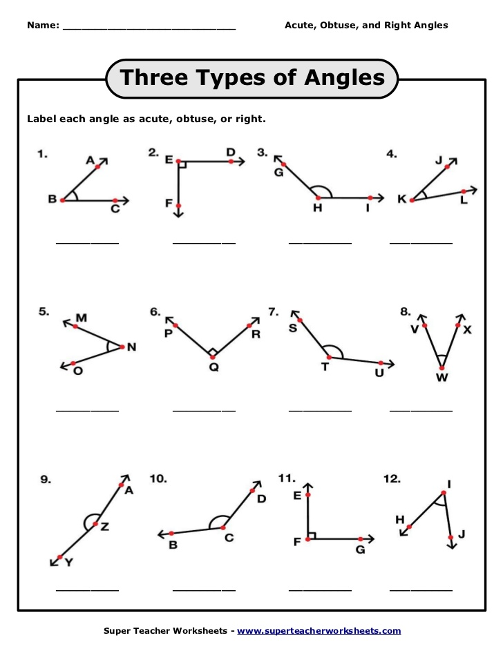 Identifying Angles Worksheets 1246068