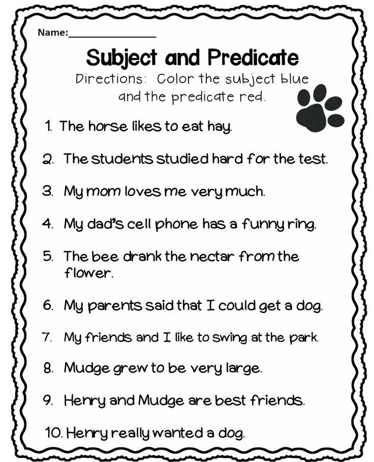 Identifying Subjects And Predicates Worksheets 1388085