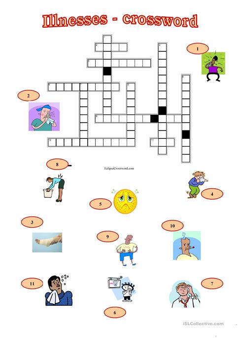 Illnesses Crossword Worksheet