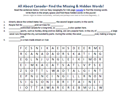 Image Of Canada Worksheet