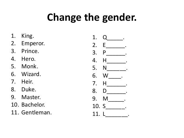 Image Result For Gender Nouns Worksheets