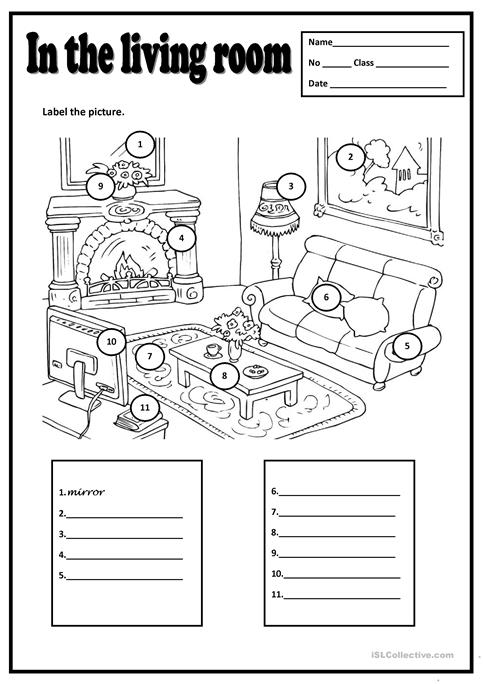 In The Living Room Worksheet