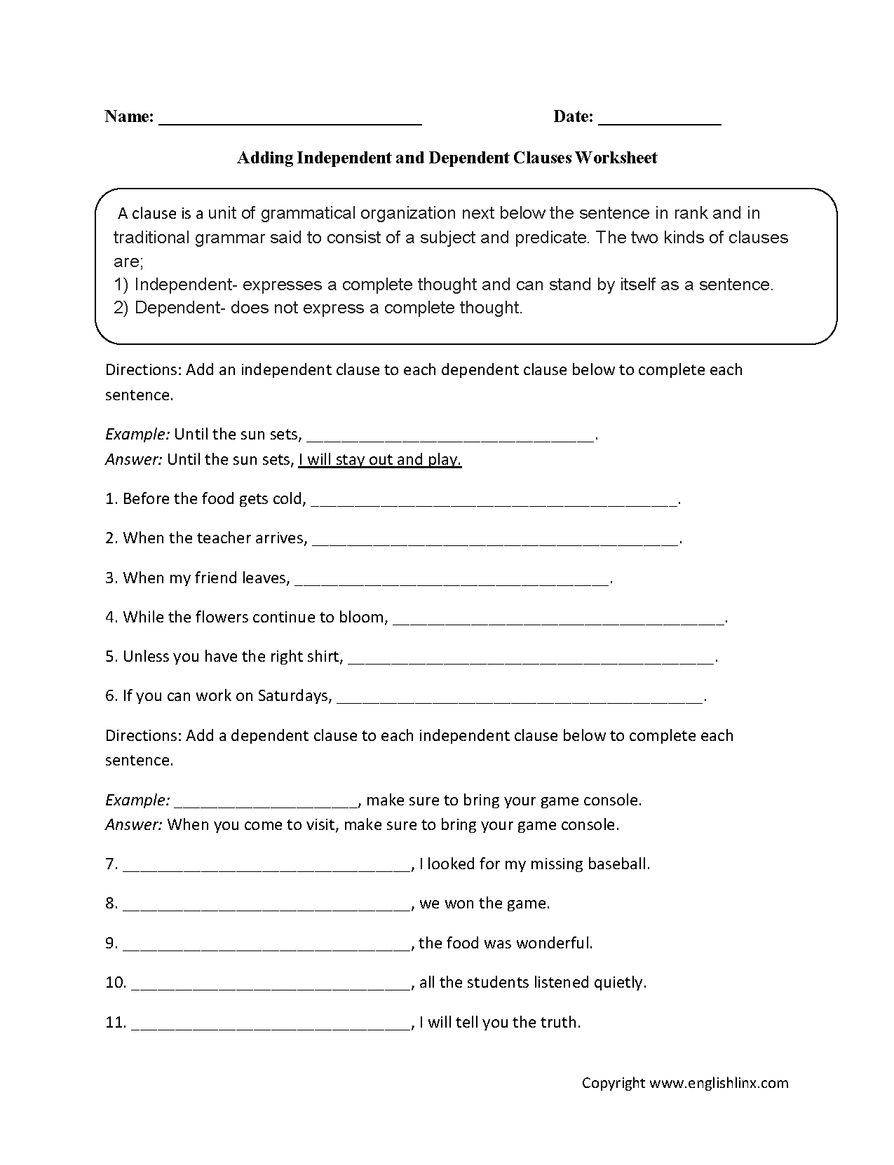 Independent And Dependent Clauses Worksheet 994705