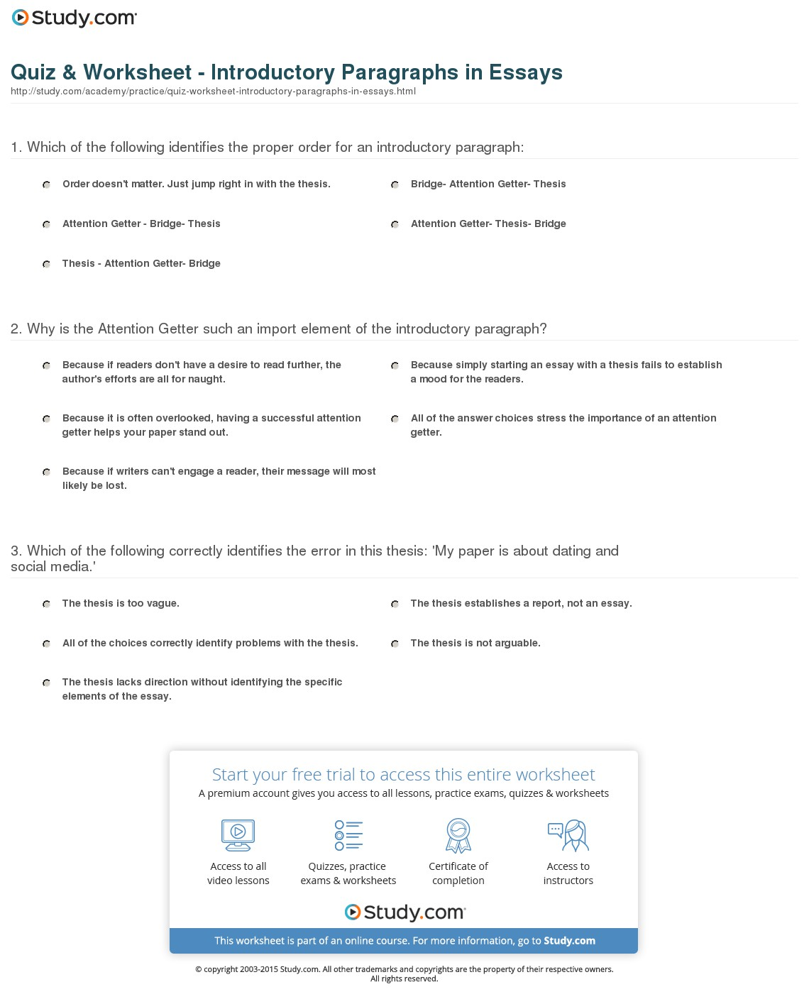 Introduction Paragraph Worksheet 1361583
