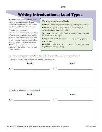 Introduction Paragraph Worksheet 1361608