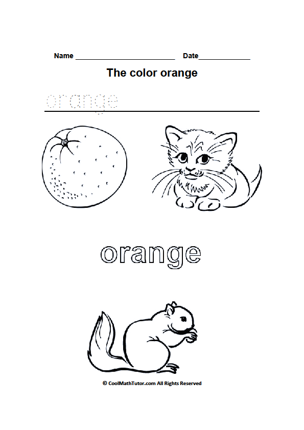 Kindergarten Color Orange Worksheets 468548