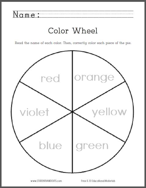 Kindergarten Color Wheel Worksheets  541816