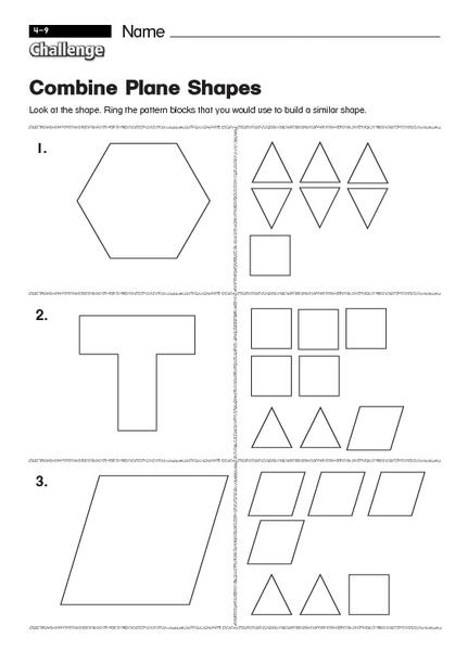 Kindergarten Combining Shapes Worksheets 118079