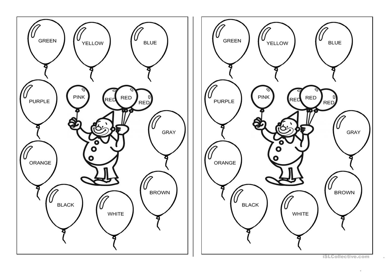 Kindergarten English Worksheets Colours 369489