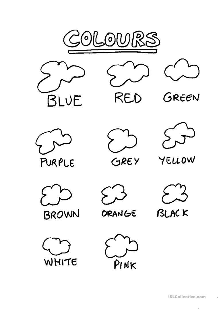 Kindergarten English Worksheets Colours 369501