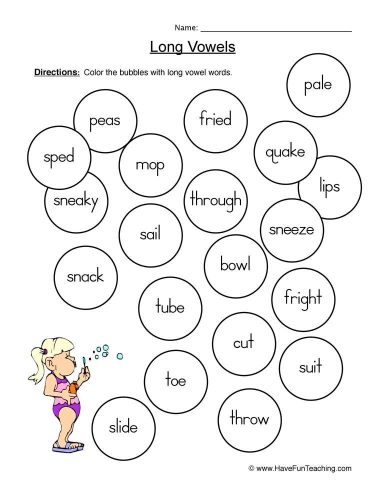 Kindergarten Long Vowel Worksheets 1147942
