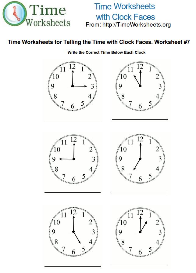 Kindergarten Math Clock Worksheets 395645