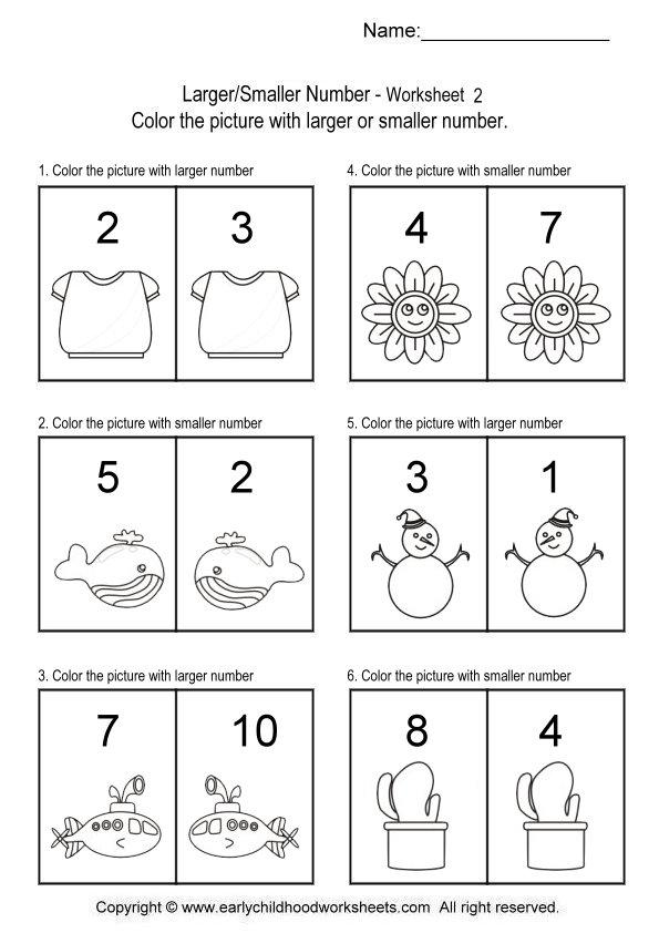 Kindergarten Math Worksheets Larger Smaller 203297