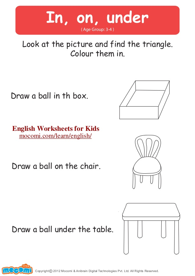 Kindergarten Over And Under Worksheet 1226129