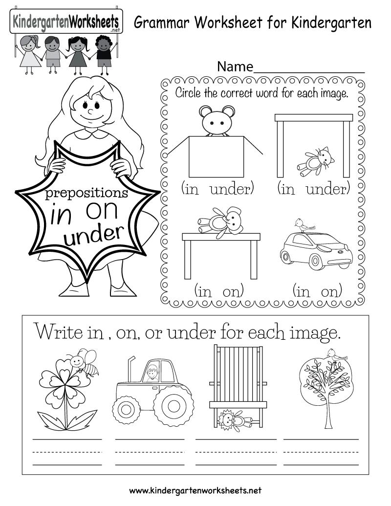 Kindergarten Over And Under Worksheet  1226107