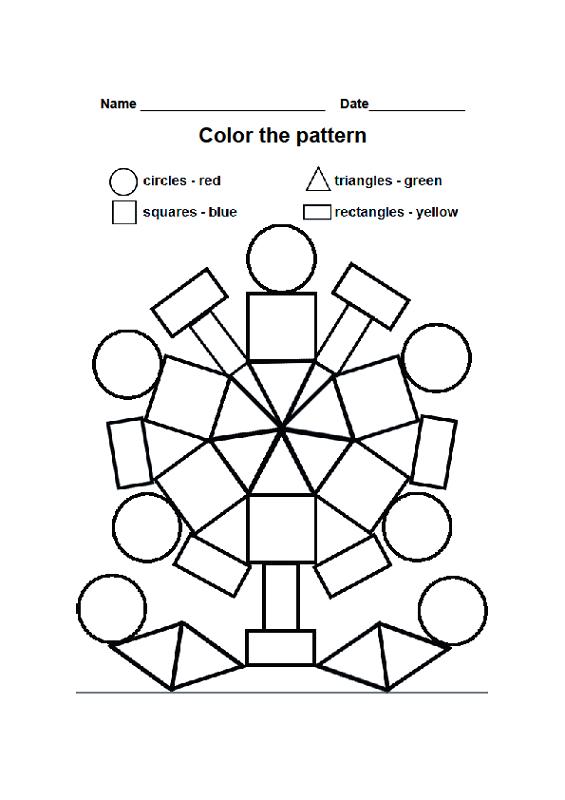 Kindergarten Printable Worksheets Shapes 1092764