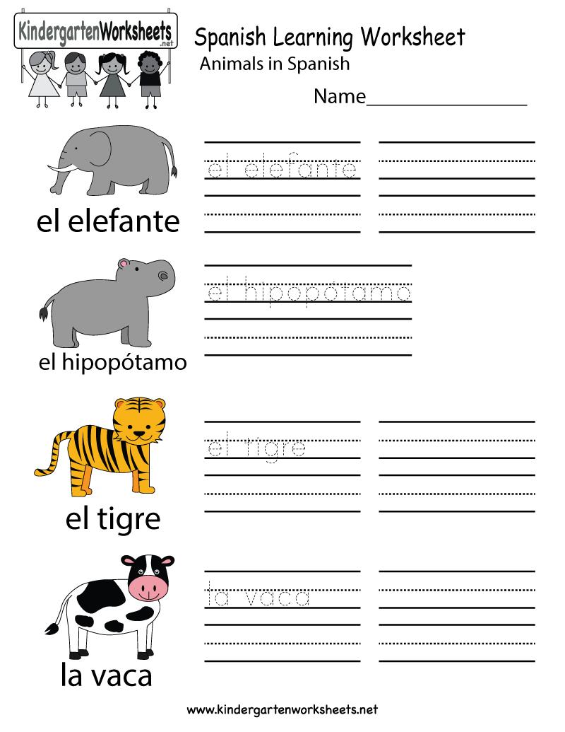 Kindergarten Spanish Worksheets Pdf 703890