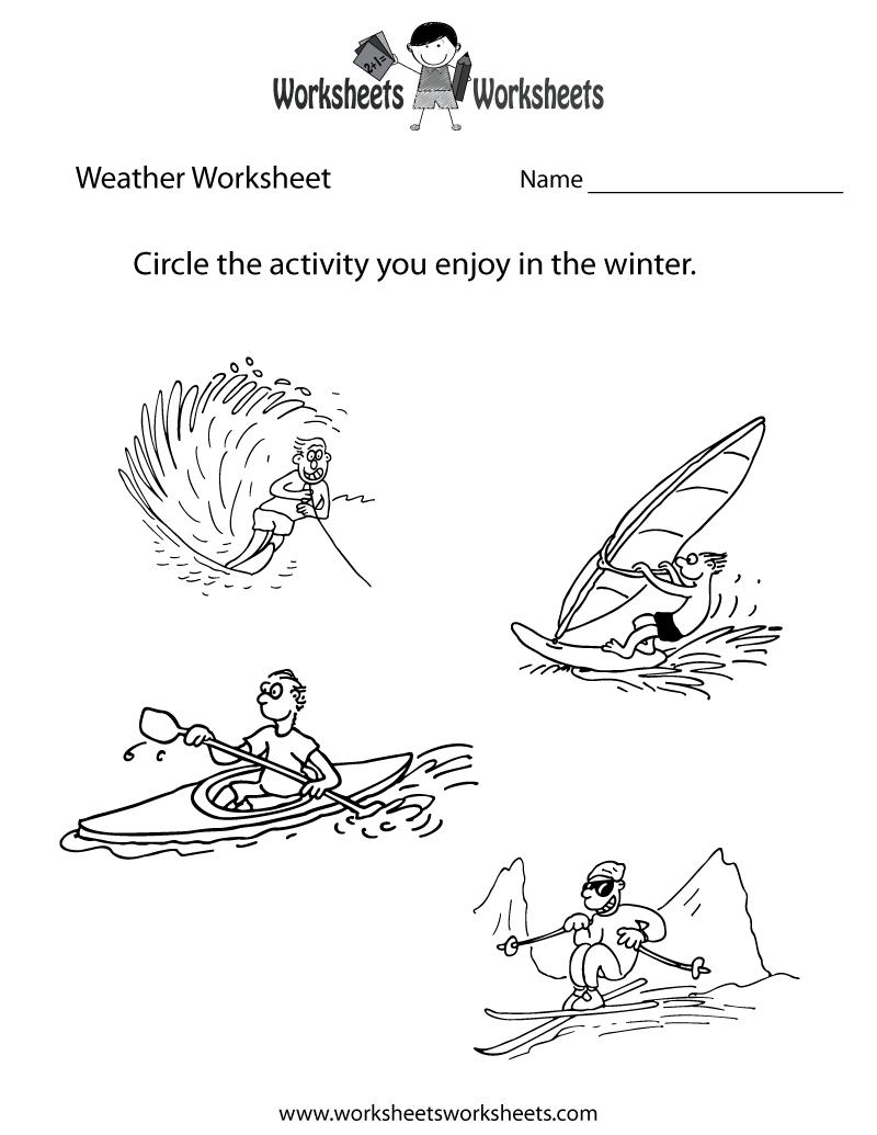 Kindergarten Weather Worksheets Free 862775