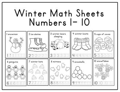 Kindergarten Winter Math Worksheets 345991