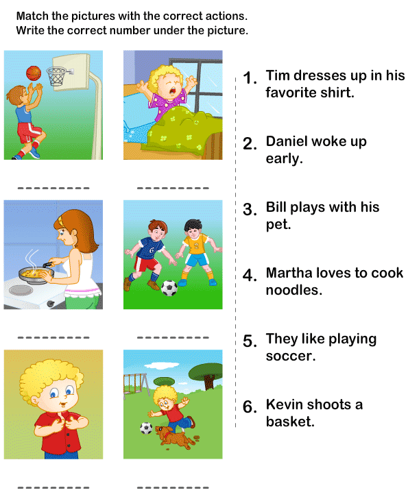 Kindergarten Worksheets Action Words  865967