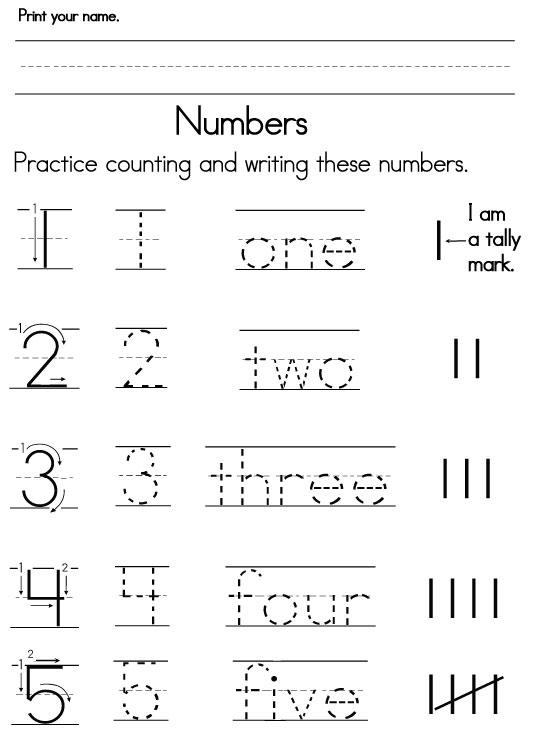 Kindergarten Worksheets For Number Words 681568