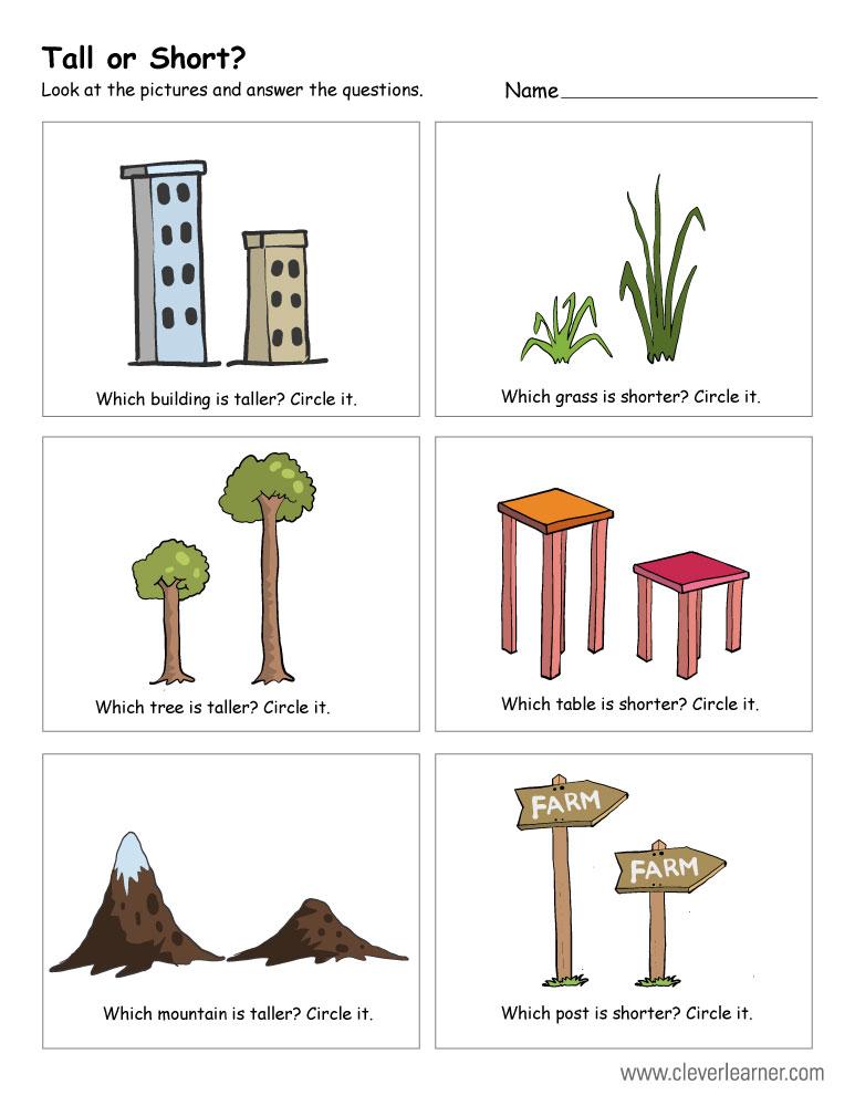 Kindergarten Worksheets Height