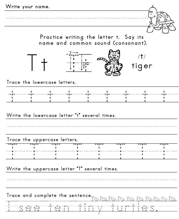 Kindergarten Worksheets Letter T 1404627