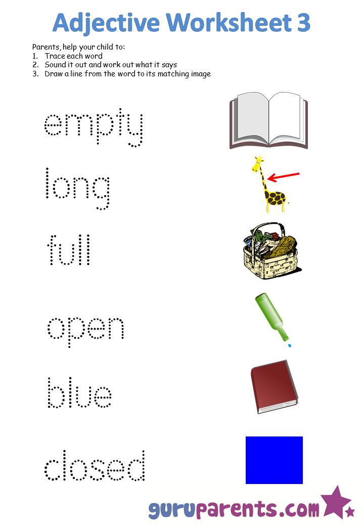 Kindergarten Worksheets On Adjectives 374076