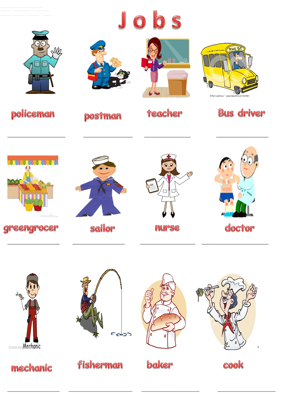 Kindergarten Worksheets On Jobs 567445