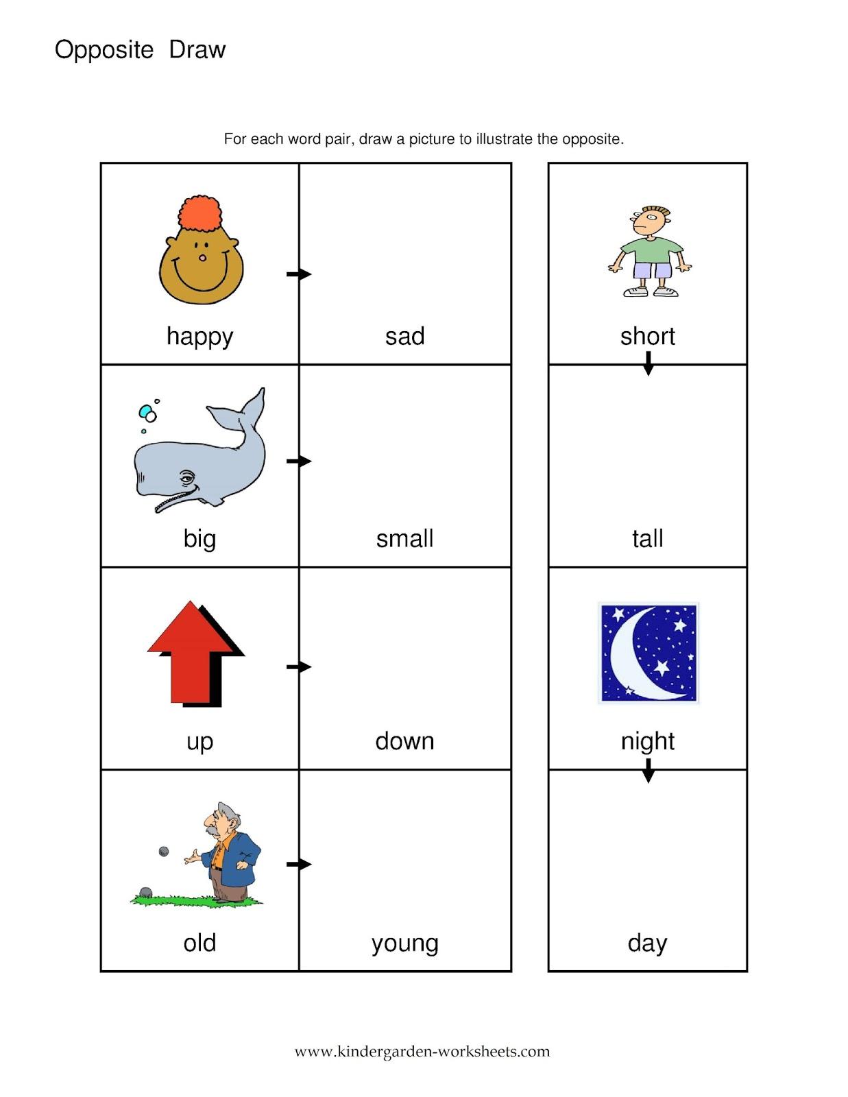 Kindergarten Worksheets On Opposites 611802