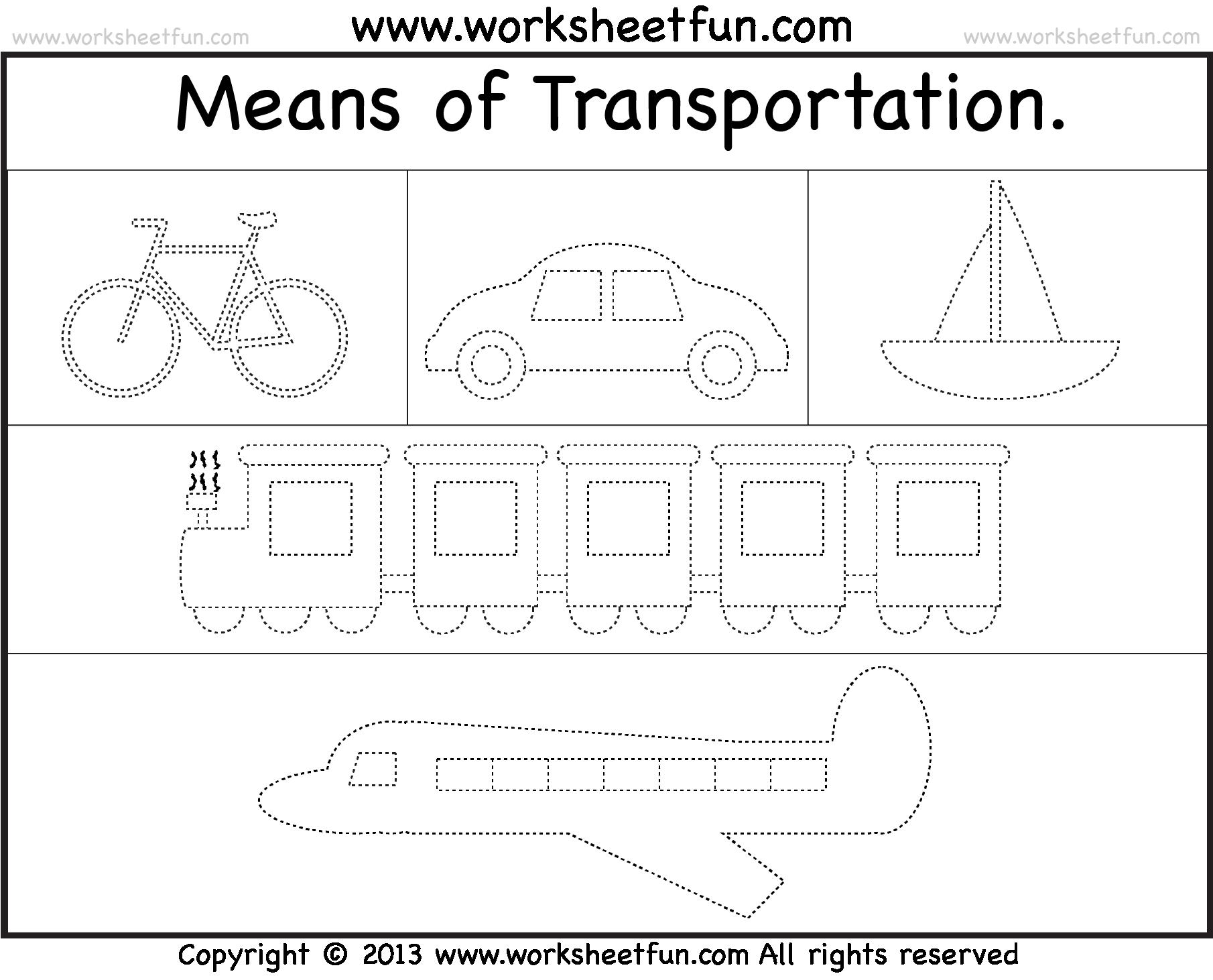 Kindergarten Worksheets On Transport 496950