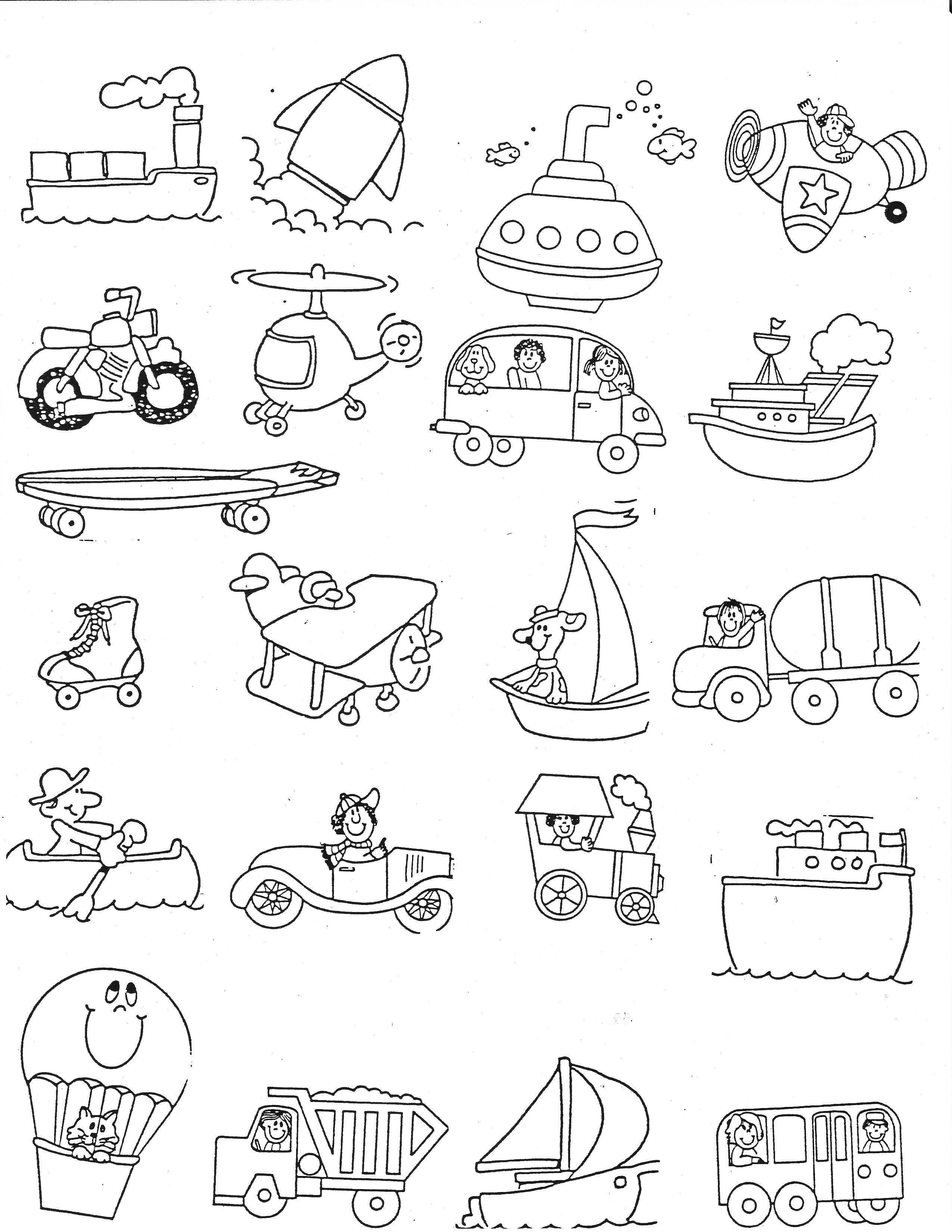 Kindergarten Worksheets On Transport 496971