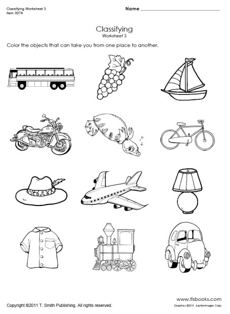 Kindergarten Worksheets On Transportation 29279