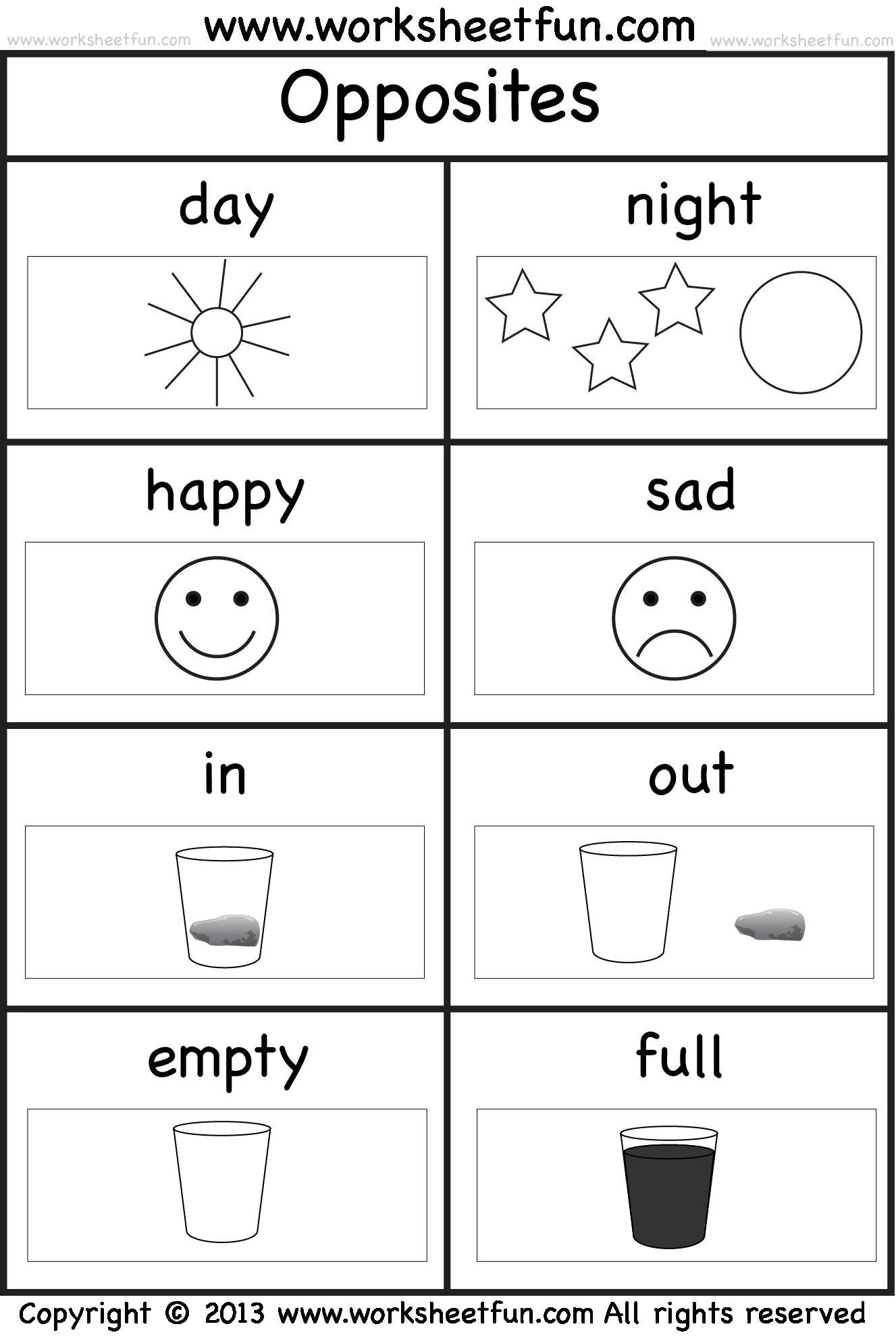 Kindergarten Worksheets Opposites 1183048