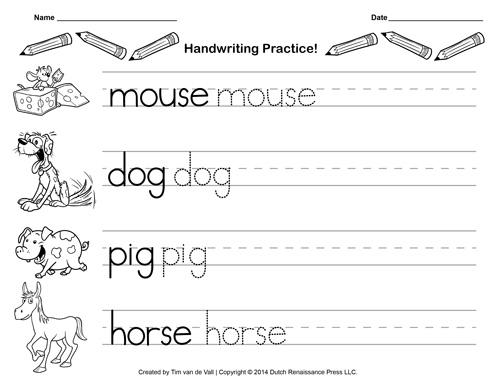 Kindergarten Worksheets Writing
