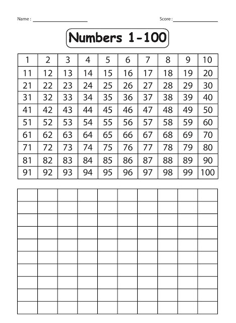 Kindergarten Worksheets Writing Numbers 1 100
