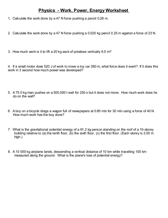 Kinetic And Potential Energy Calculations Worksheet 1397591