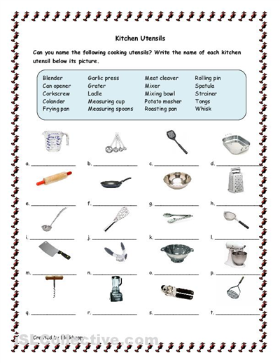 Kitchen Tools And Utensils For Classroom