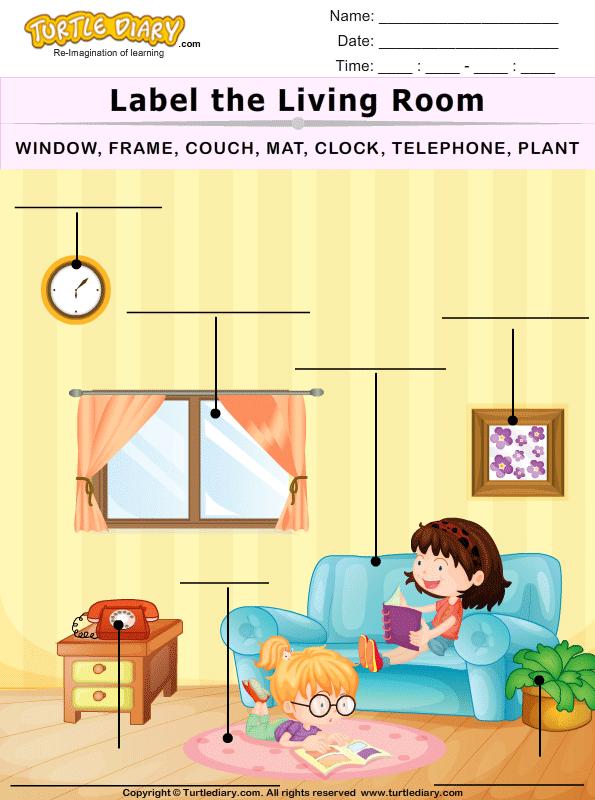 Label The Living Room Worksheet