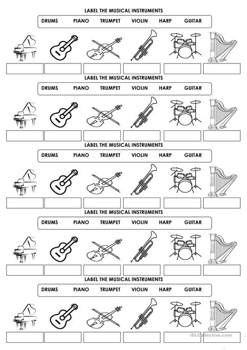 Label The Musical Instruments Worksheet