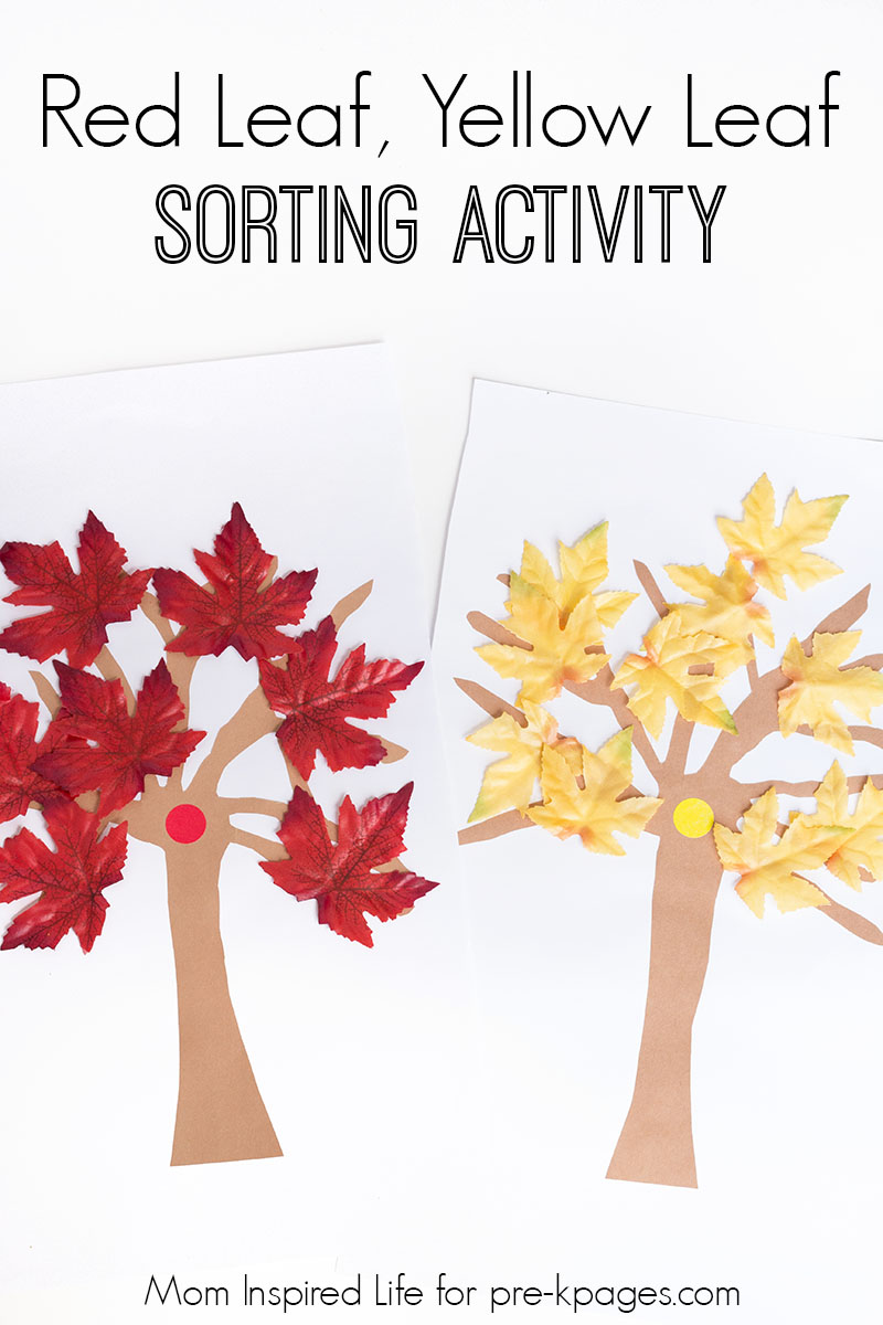Leaf Sorting Printable Red Leaf Yellow Leaf Fall Sorting Activity