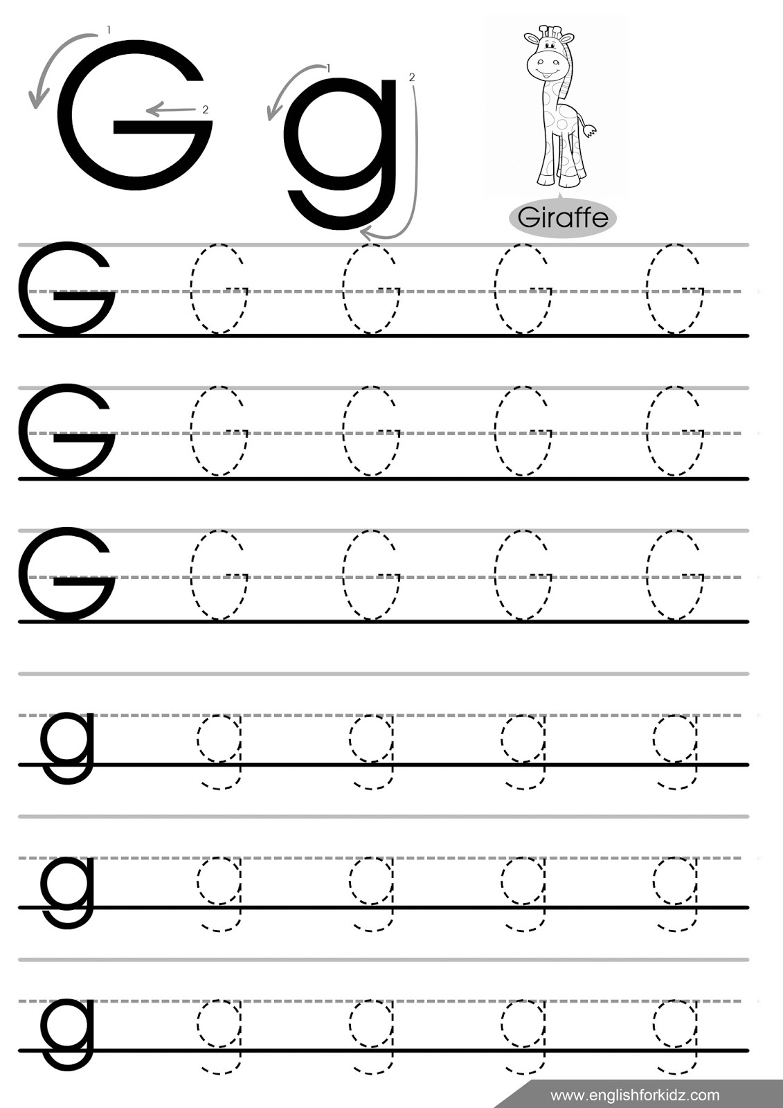 Letter G Tracing Worksheets Preschool 214857