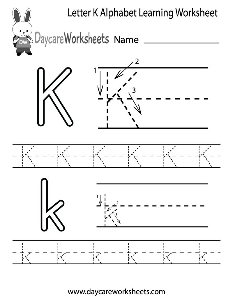 Letter K Tracing Worksheets Preschool 623404