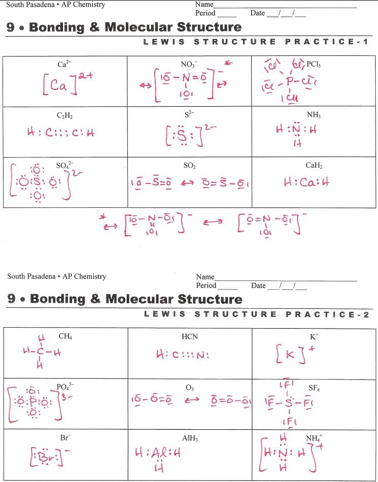 Lewis Dot Structure Worksheet Lewis Dot Structure Worksheets