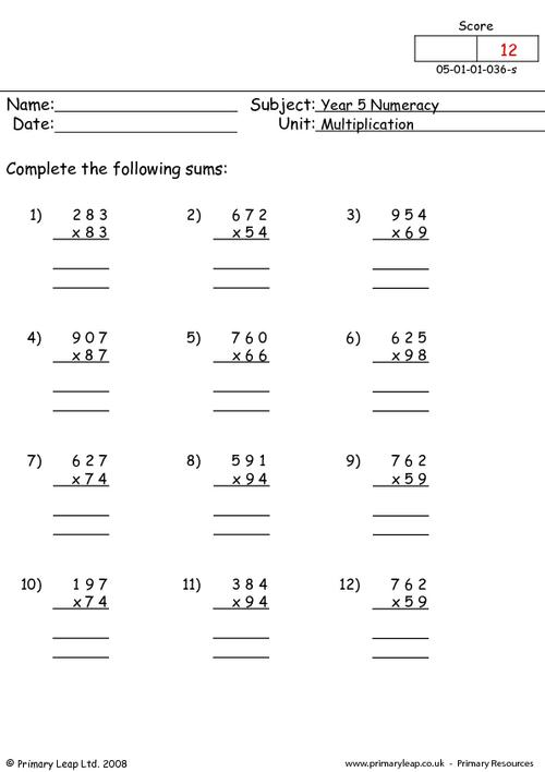 Long Multiplication Worksheets Easy  40734