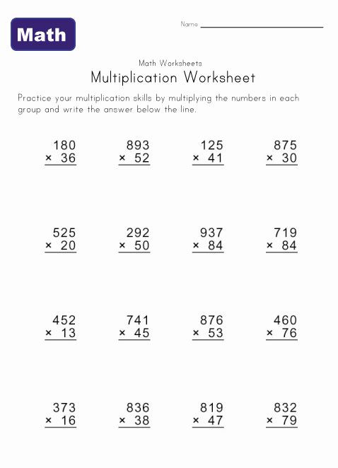 Long Multiplication Worksheets For Year 5 642831